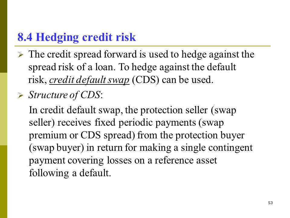 53 8.4 Hedging credit risk The credit spread forward is used to hedge against the spread risk of a loan. To hedge against the default risk, credit def
