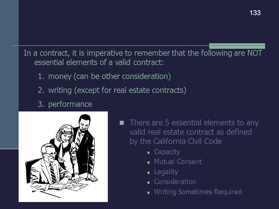 There are 5 essential elements to any valid real estate contract as defined by the California Civil Code Capacity Mutual Consent Legality Consideratio