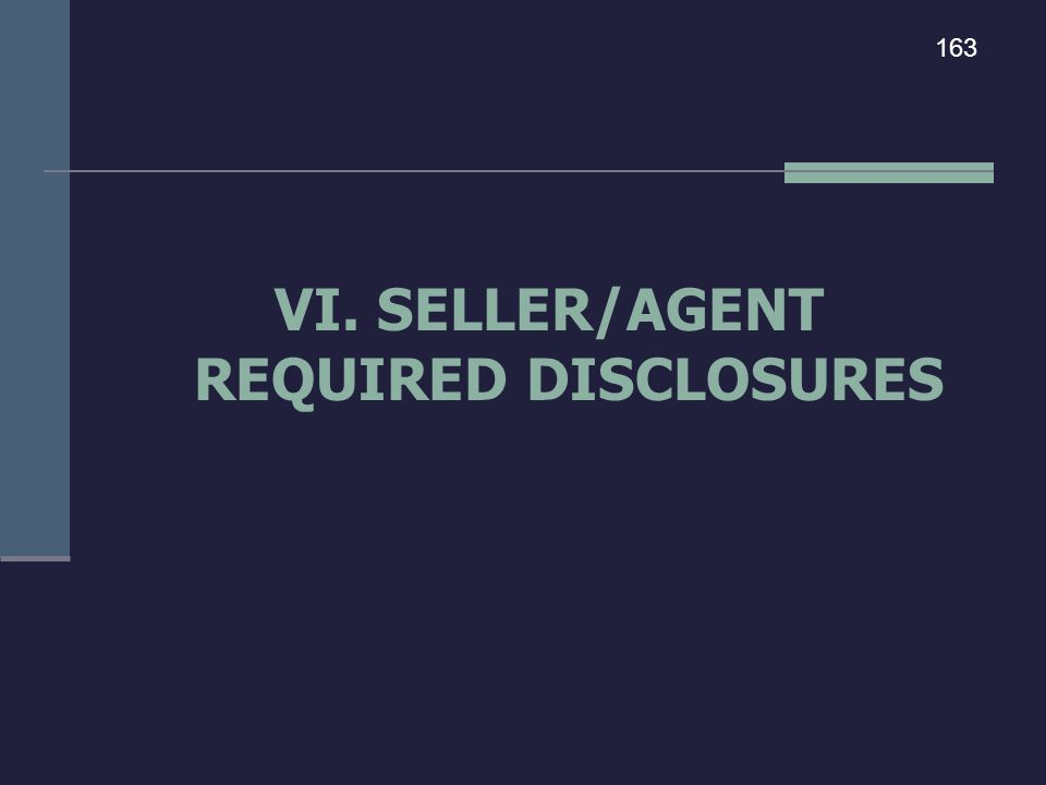 VI. SELLER/AGENT REQUIRED DISCLOSURES 163
