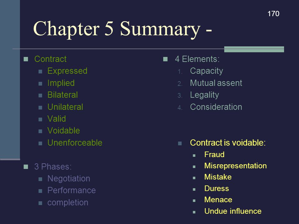 Chapter 5 Summary - Contract Expressed Implied Bilateral Unilateral Valid Voidable Unenforceable 3 Phases: Negotiation Performance completion 4 Elemen