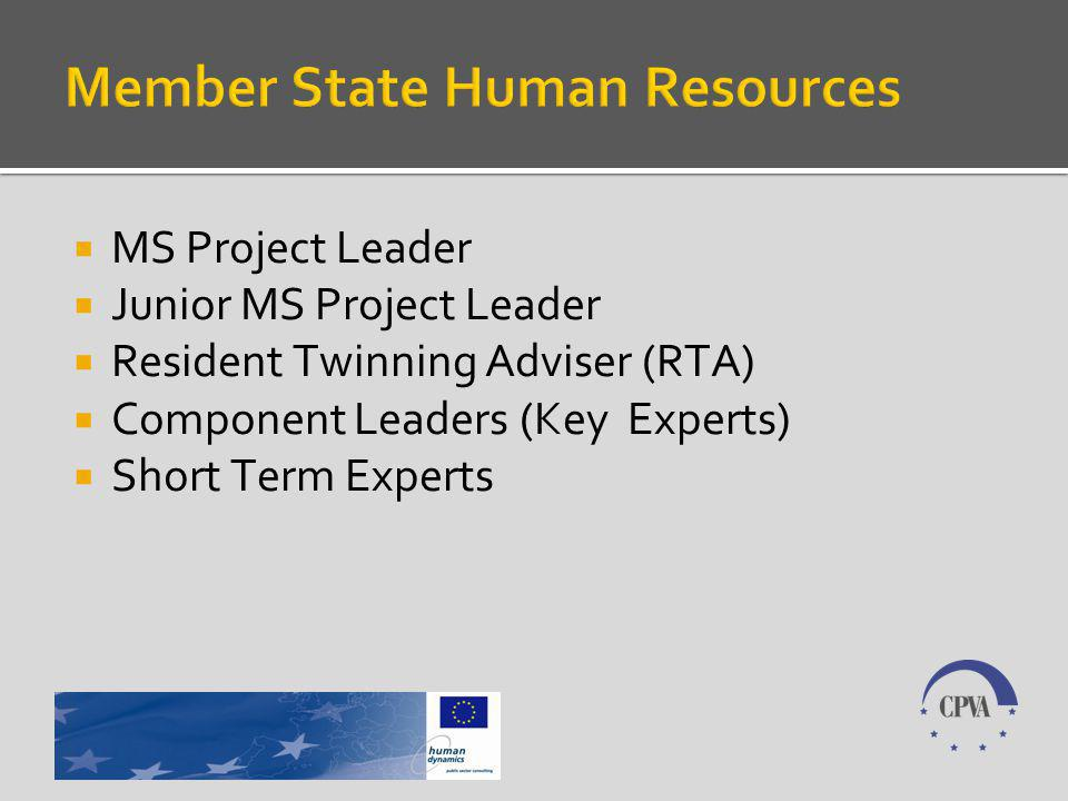 MS Project Leader Junior MS Project Leader Resident Twinning Adviser (RTA) Component Leaders (Key Experts) Short Term Experts