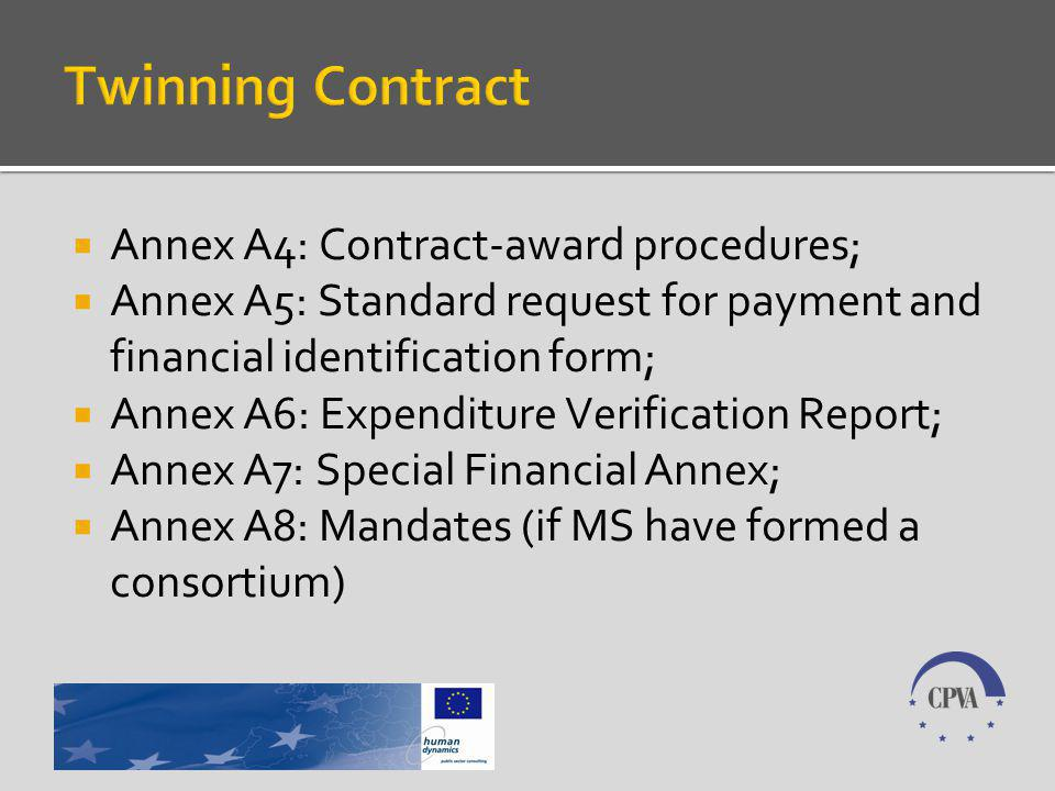 Annex A4: Contract-award procedures; Annex A5: Standard request for payment and financial identification form; Annex A6: Expenditure Verification Report; Annex A7: Special Financial Annex; Annex A8: Mandates (if MS have formed a consortium)