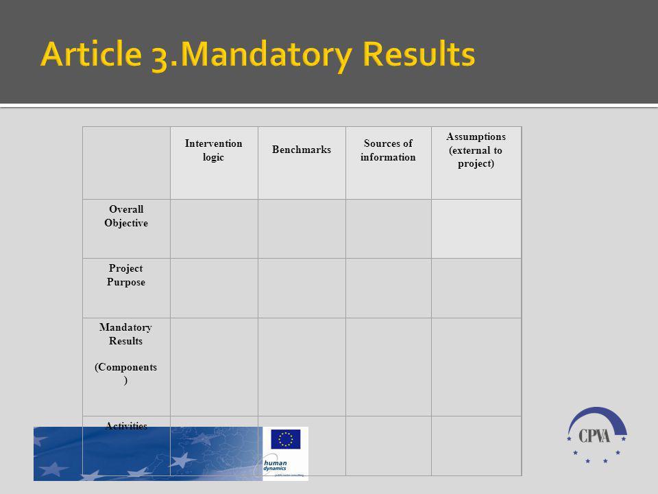 Intervention logic Benchmarks Sources of information Assumptions (external to project) Overall Objective Project Purpose Mandatory Results (Components