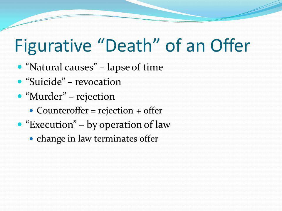 Literal Death of An Offer The offeror dies The offeree dies Destruction of subject matter