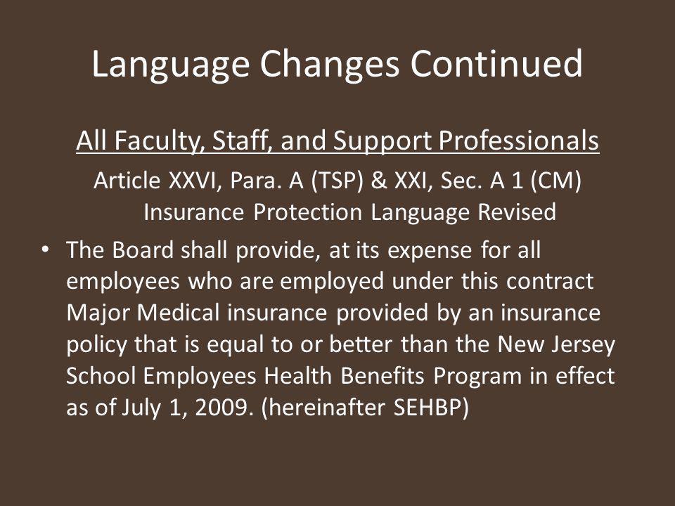 Language Changes Continued Article XXVI, Para.F (TSP) & XXI A.