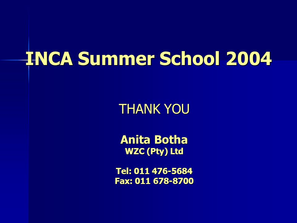 INCA Summer School 2004 THANK YOU Anita Botha WZC (Pty) Ltd Tel: 011 476-5684 Fax: 011 678-8700