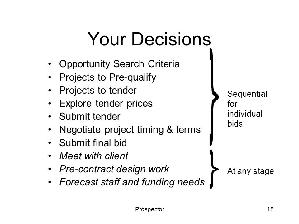Prospector18 Your Decisions Opportunity Search Criteria Projects to Pre-qualify Projects to tender Explore tender prices Submit tender Negotiate project timing & terms Submit final bid Meet with client Pre-contract design work Forecast staff and funding needs Sequential for individual bids At any stage