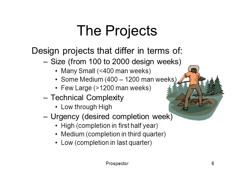 Prospector6 The Projects Design projects that differ in terms of: –Size (from 100 to 2000 design weeks) Many Small (<400 man weeks) Some Medium (400 –
