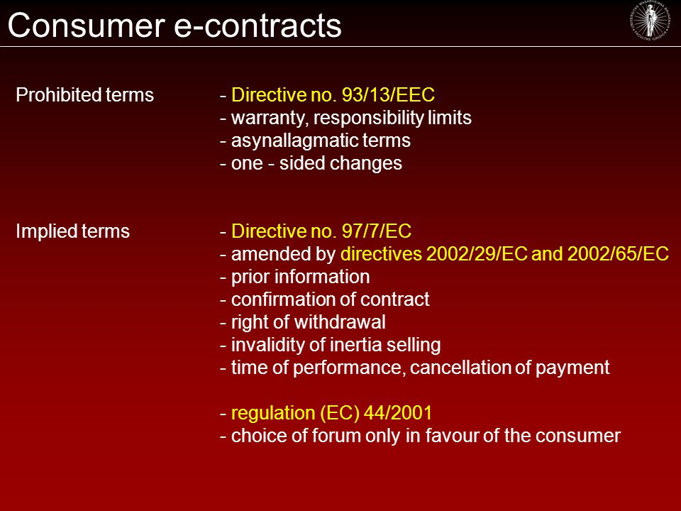 Consumer e-contracts Prohibited terms- Directive no.