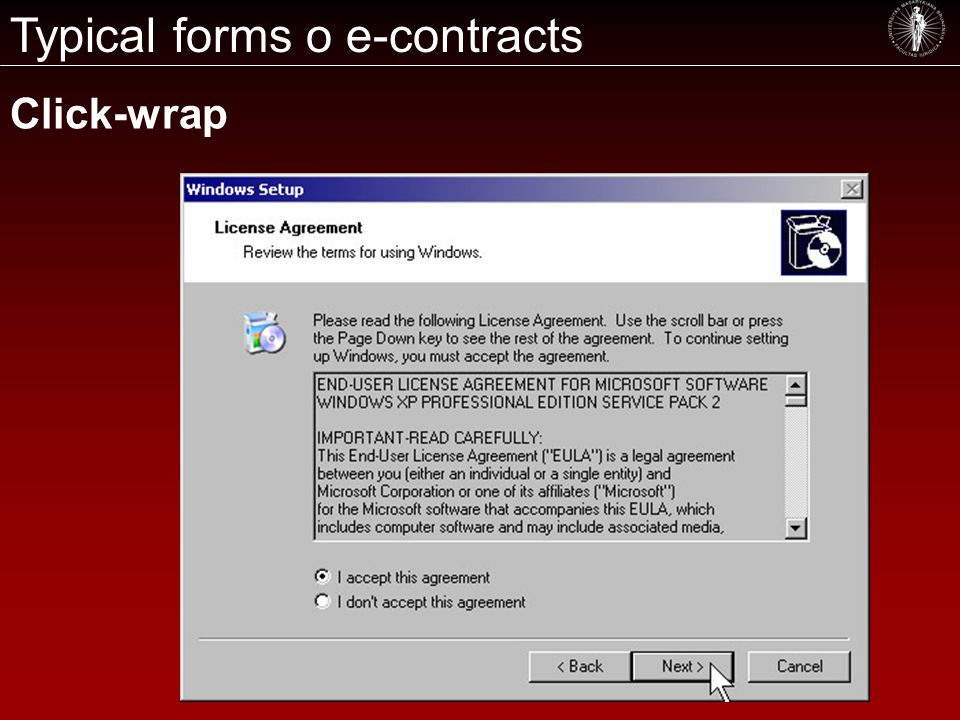 Typical forms o e-contracts Click-wrap