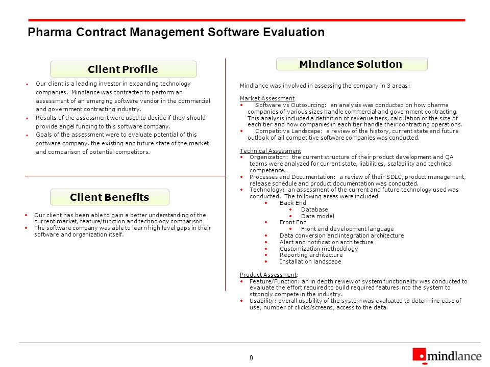 0 Pharma Contract Management Software Evaluation Client Profile Client Benefits Mindlance Solution Our client is a leading investor in expanding technology companies.