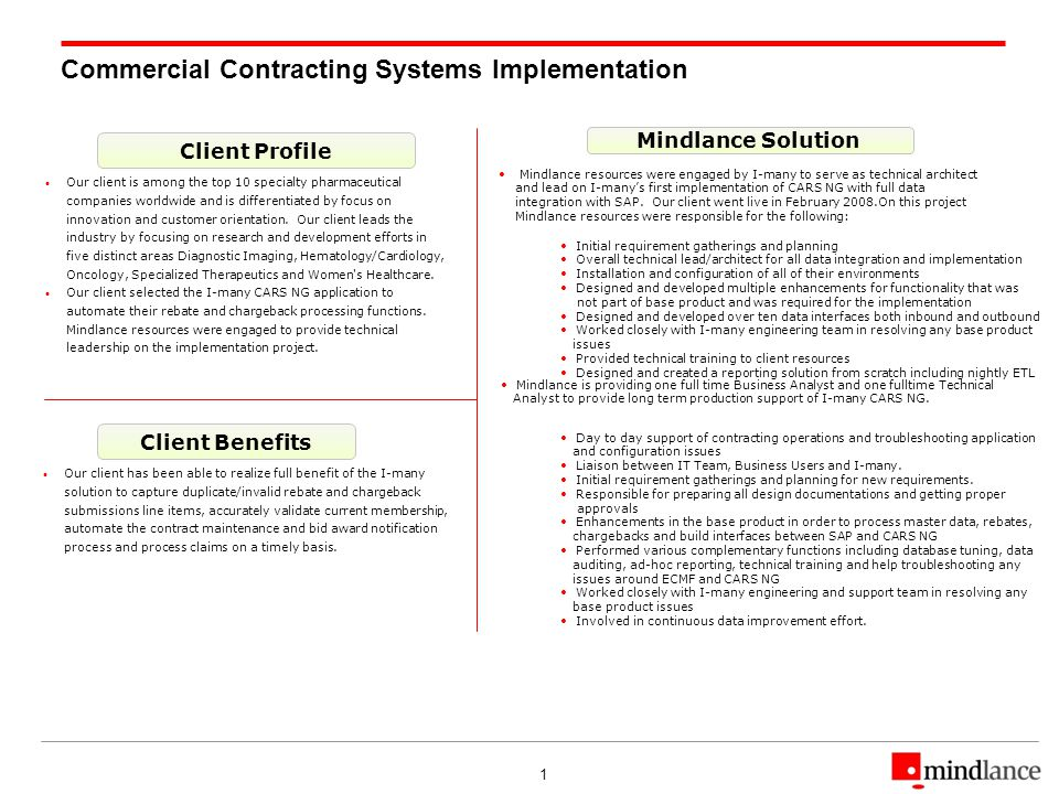 1 Commercial Contracting Systems Implementation Client Profile Client Benefits Mindlance Solution Our client is among the top 10 specialty pharmaceutical companies worldwide and is differentiated by focus on innovation and customer orientation.