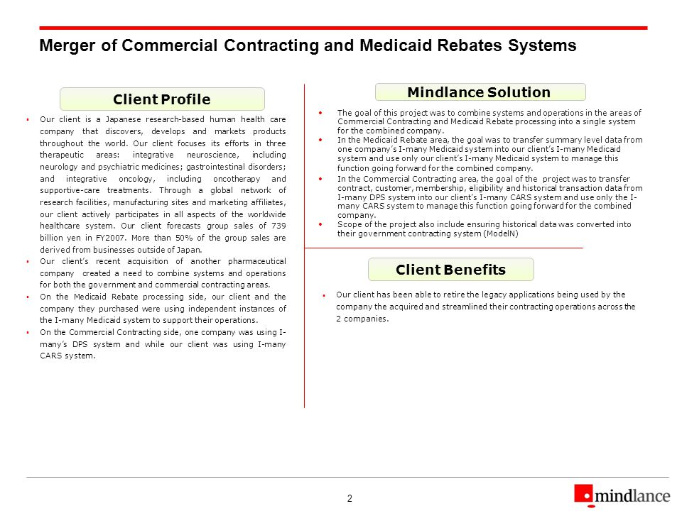 2 Merger of Commercial Contracting and Medicaid Rebates Systems Client Profile Client Benefits Mindlance Solution Our client is a Japanese research-based human health care company that discovers, develops and markets products throughout the world.