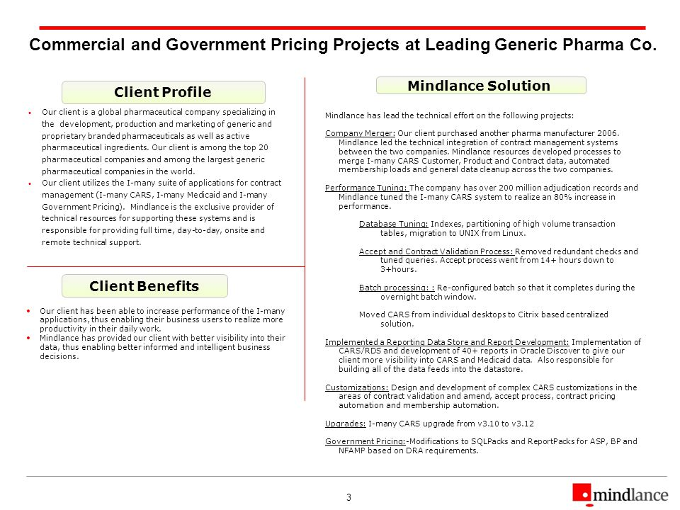 3 Commercial and Government Pricing Projects at Leading Generic Pharma Co. Client Profile Client Benefits Mindlance Solution Our client is a global ph