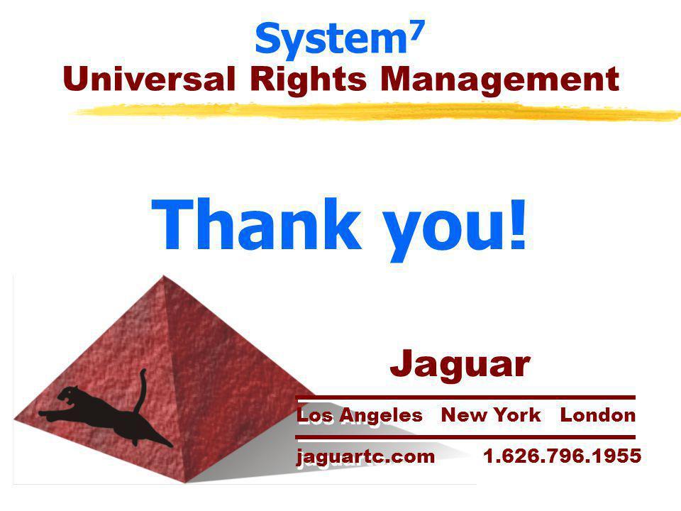 System 7 Universal Rights Management Thank you! Jaguar Los Angeles New York London jaguartc.com 1.626.796.1955 Jaguar Los Angeles New York London jagu