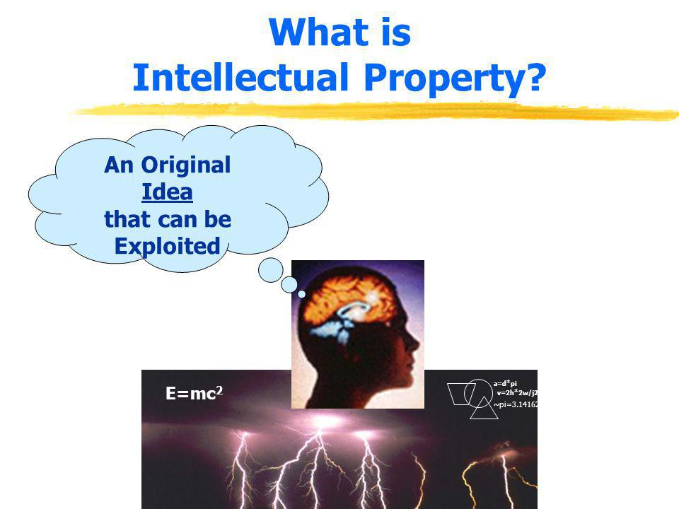 What is Intellectual Property? E=mc 2 ~pi=3.141627 a=d*pi v=2h*2w/j2 An Original Idea that can be Exploited