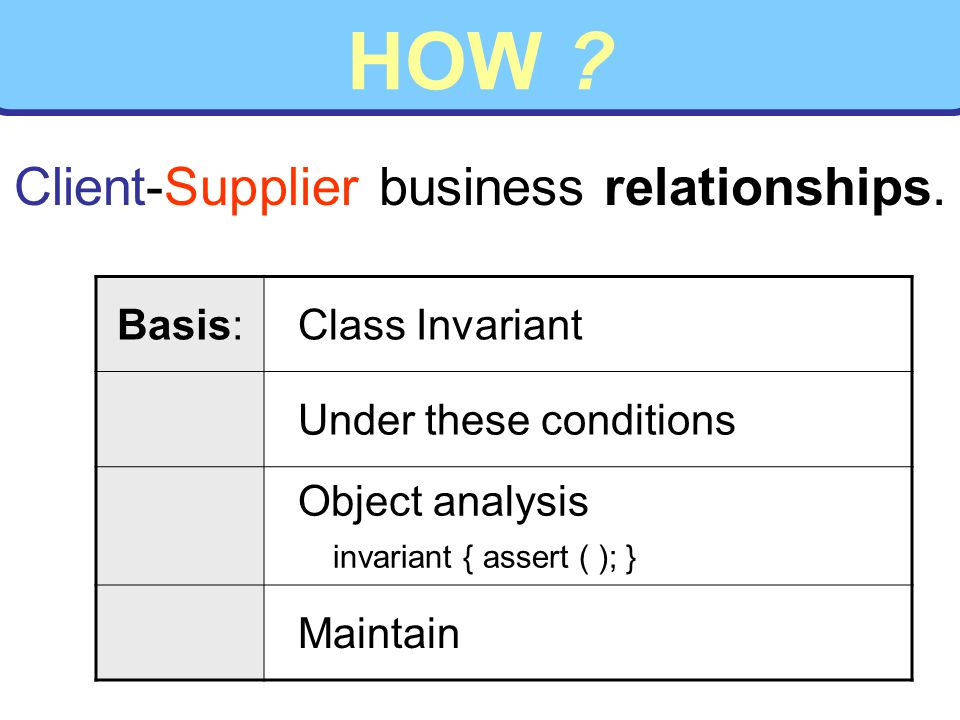 HOW ? Basis: Class Invariant Under these conditions Object analysis invariant { assert ( ); } Maintain Client-Supplier business relationships.