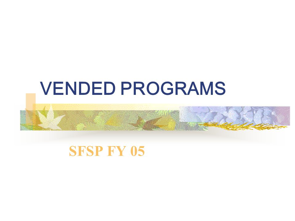 VENDED PROGRAMS SFSP FY 05