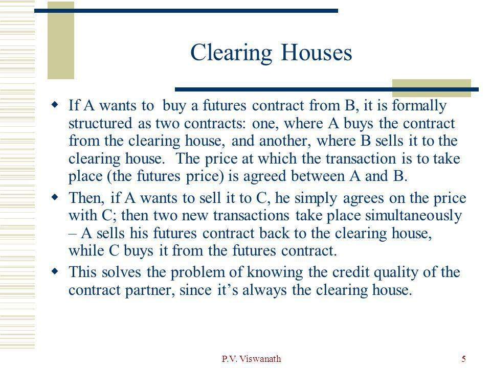 P.V. Viswanath5 Clearing Houses If A wants to buy a futures contract from B, it is formally structured as two contracts: one, where A buys the contrac