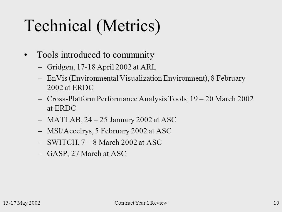 13-17 May 2002Contract Year 1 Review10 Technical (Metrics) Tools introduced to community –Gridgen, 17-18 April 2002 at ARL –EnVis (Environmental Visualization Environment), 8 February 2002 at ERDC –Cross-Platform Performance Analysis Tools, 19 – 20 March 2002 at ERDC –MATLAB, 24 – 25 January 2002 at ASC –MSI/Accelrys, 5 February 2002 at ASC –SWITCH, 7 – 8 March 2002 at ASC –GASP, 27 March at ASC