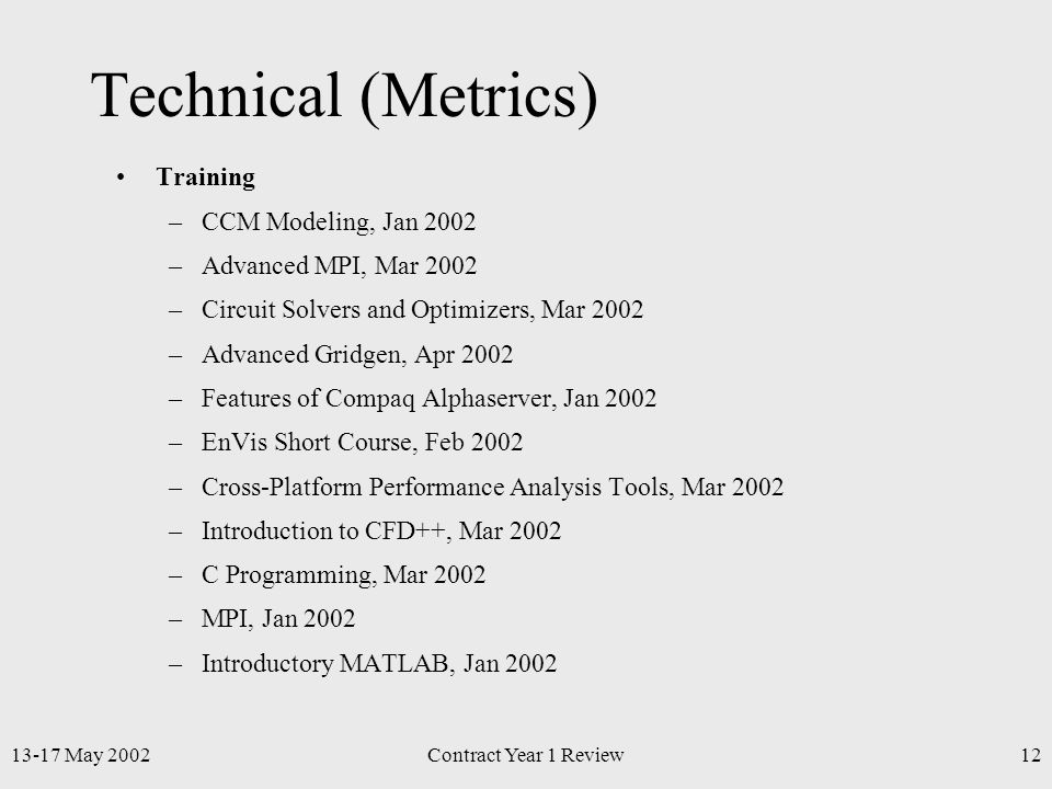 13-17 May 2002Contract Year 1 Review12 Technical (Metrics) Training –CCM Modeling, Jan 2002 –Advanced MPI, Mar 2002 –Circuit Solvers and Optimizers, Mar 2002 –Advanced Gridgen, Apr 2002 –Features of Compaq Alphaserver, Jan 2002 –EnVis Short Course, Feb 2002 –Cross-Platform Performance Analysis Tools, Mar 2002 –Introduction to CFD++, Mar 2002 –C Programming, Mar 2002 –MPI, Jan 2002 –Introductory MATLAB, Jan 2002
