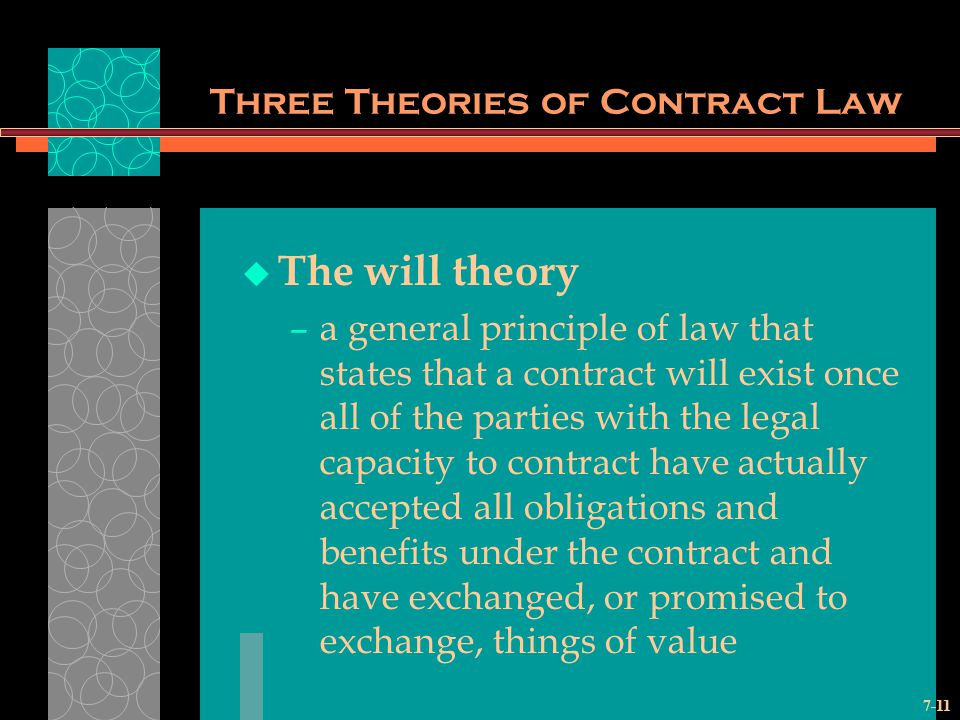 7-11 Three Theories of Contract Law The will theory –a general principle of law that states that a contract will exist once all of the parties with the legal capacity to contract have actually accepted all obligations and benefits under the contract and have exchanged, or promised to exchange, things of value