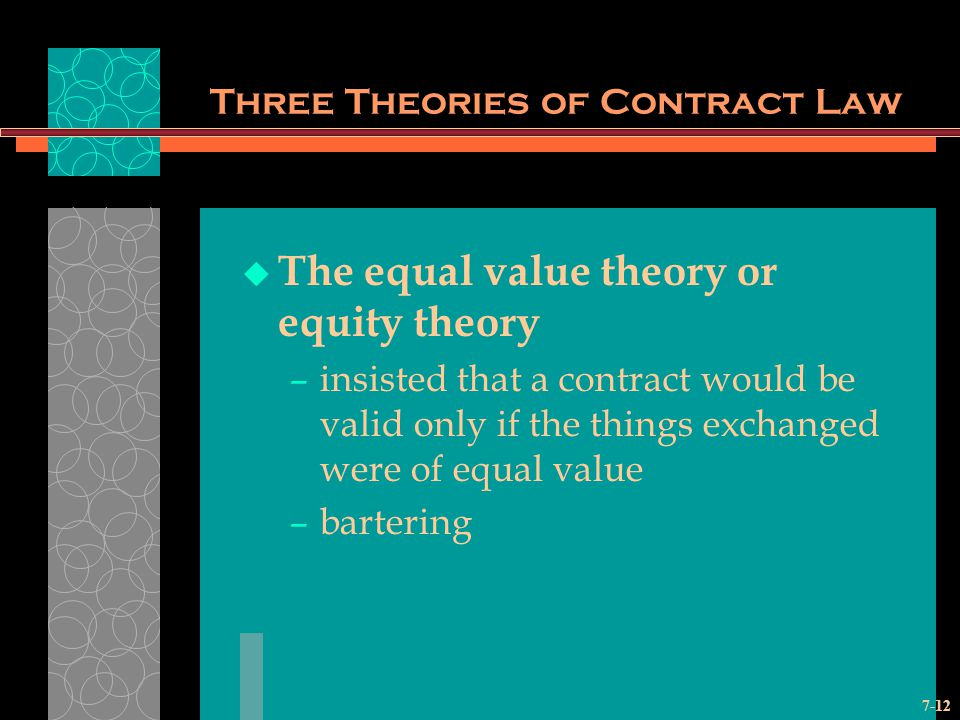 7-12 Three Theories of Contract Law The equal value theory or equity theory –insisted that a contract would be valid only if the things exchanged were of equal value –bartering