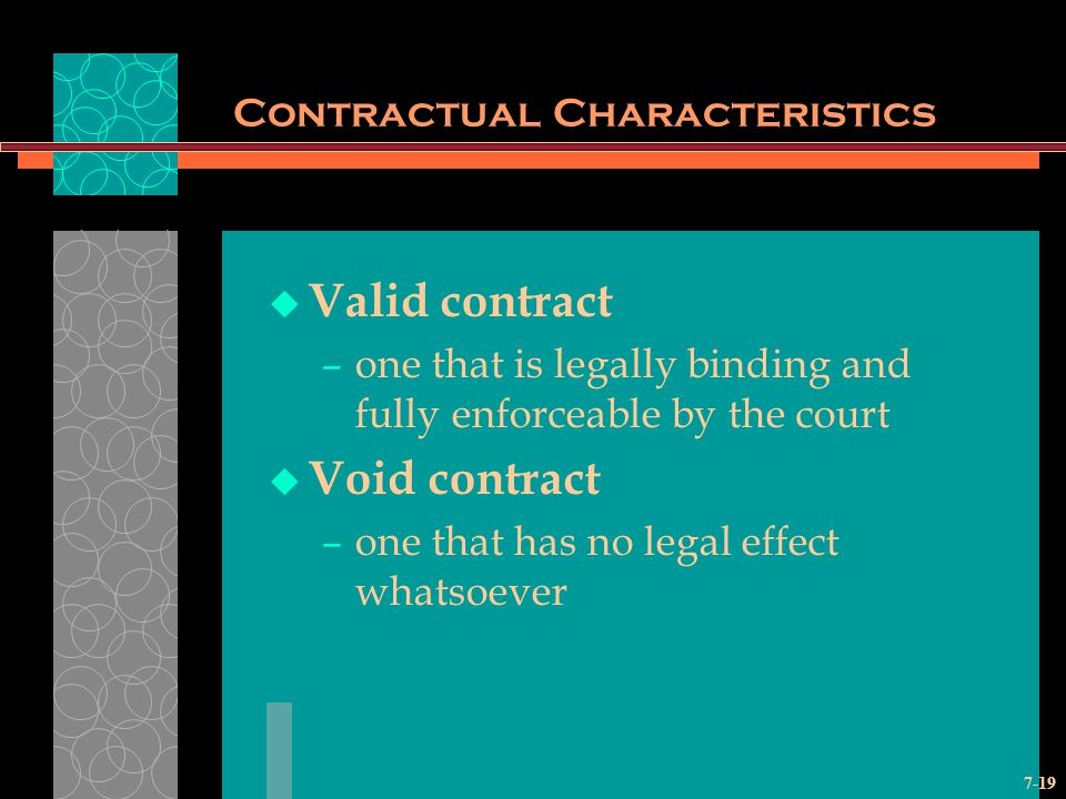 7-19 Contractual Characteristics Valid contract –one that is legally binding and fully enforceable by the court Void contract –one that has no legal effect whatsoever