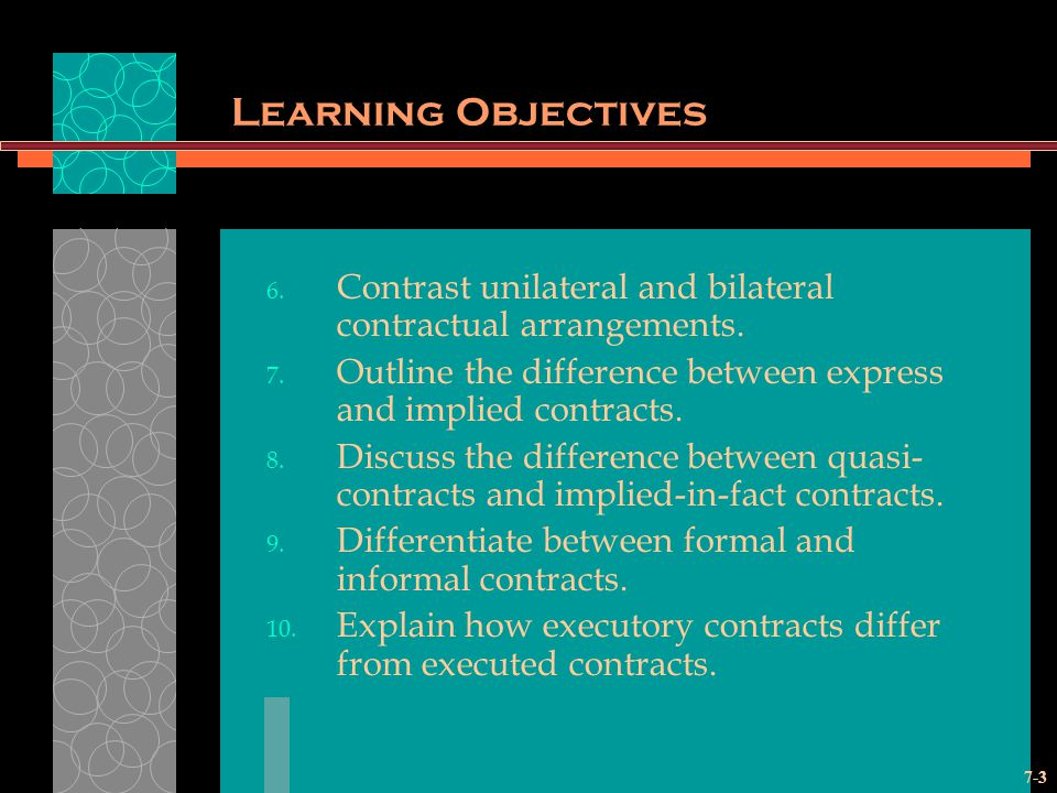 7-3 Learning Objectives 6.Contrast unilateral and bilateral contractual arrangements.