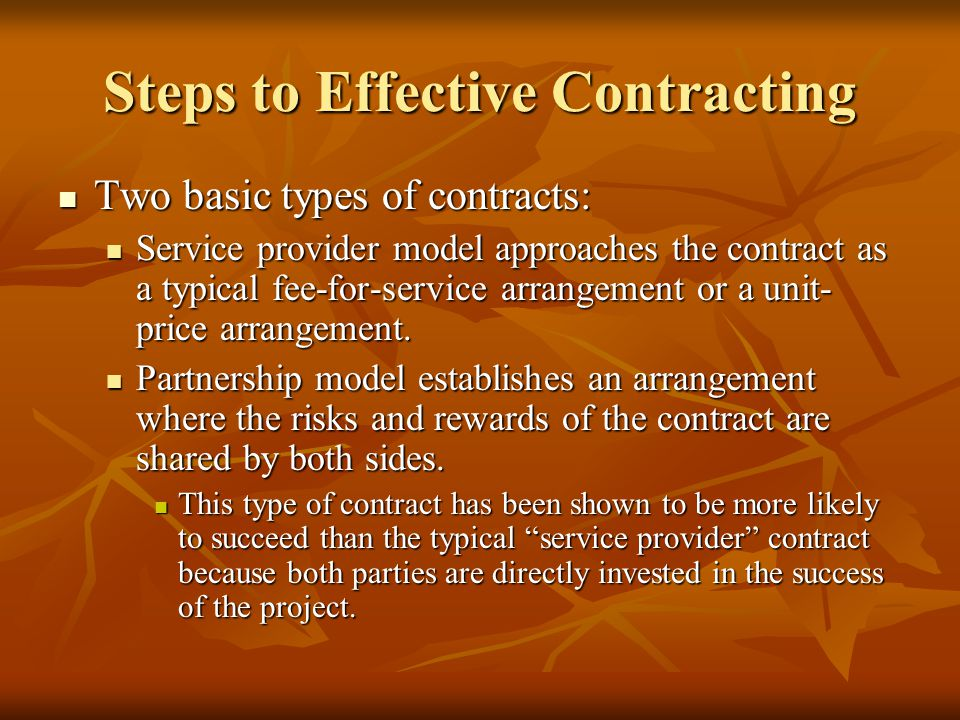 Steps to a Successful Contract 1.Define services to be contracted: Nature and type.