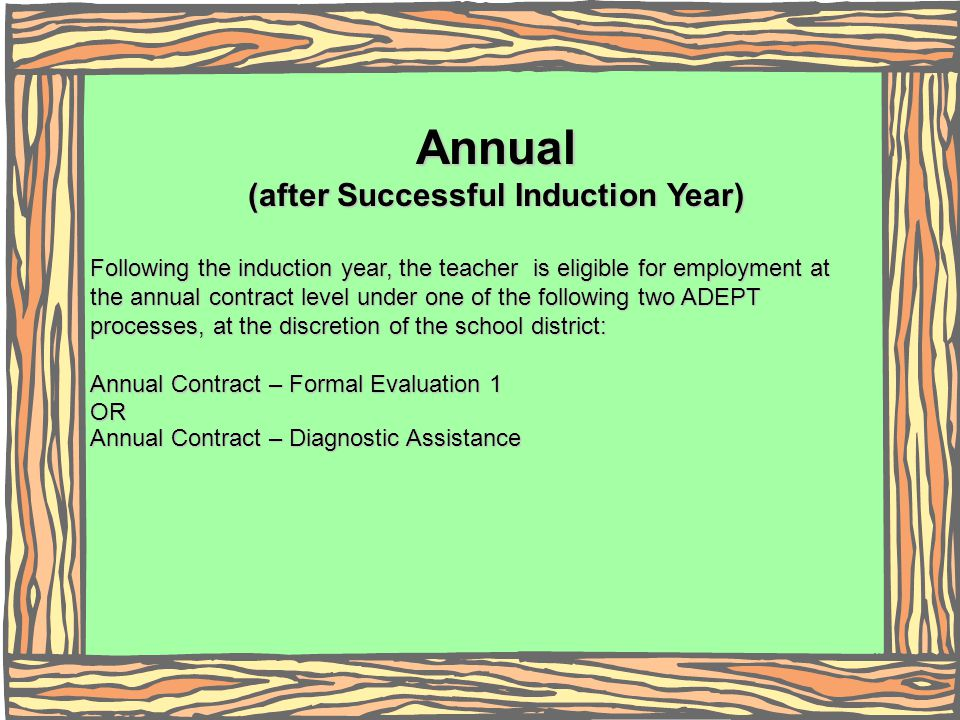 Annual (after Successful Induction Year) Following the induction year, the teacher is eligible for employment at the annual contract level under one o