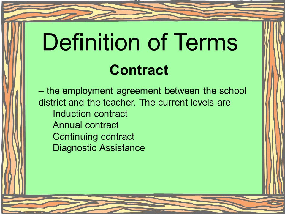 Definition of Terms Contract – the employment agreement between the school district and the teacher. The current levels are Induction contract Annual