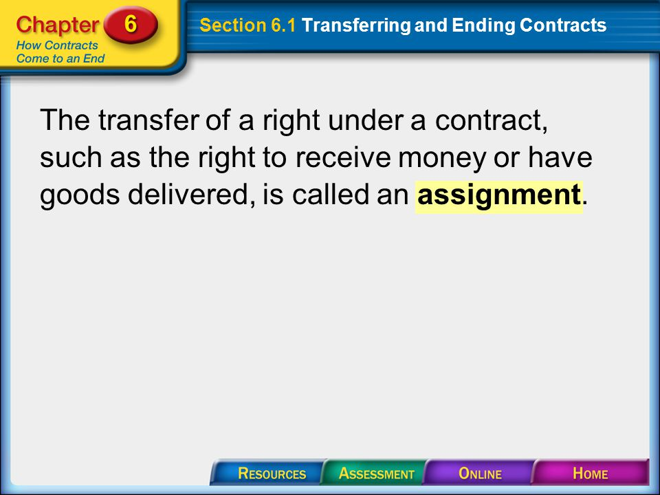 Section 6.1 Transferring and Ending Contracts The transfer of a right under a contract, such as the right to receive money or have goods delivered, is called an assignment.