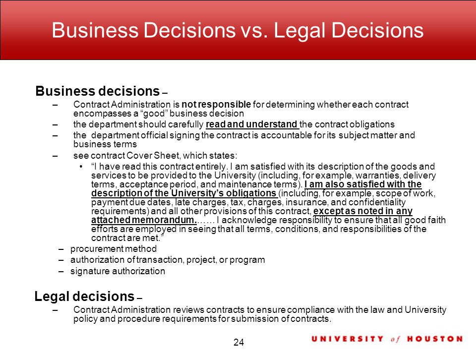 Business Decisions vs.