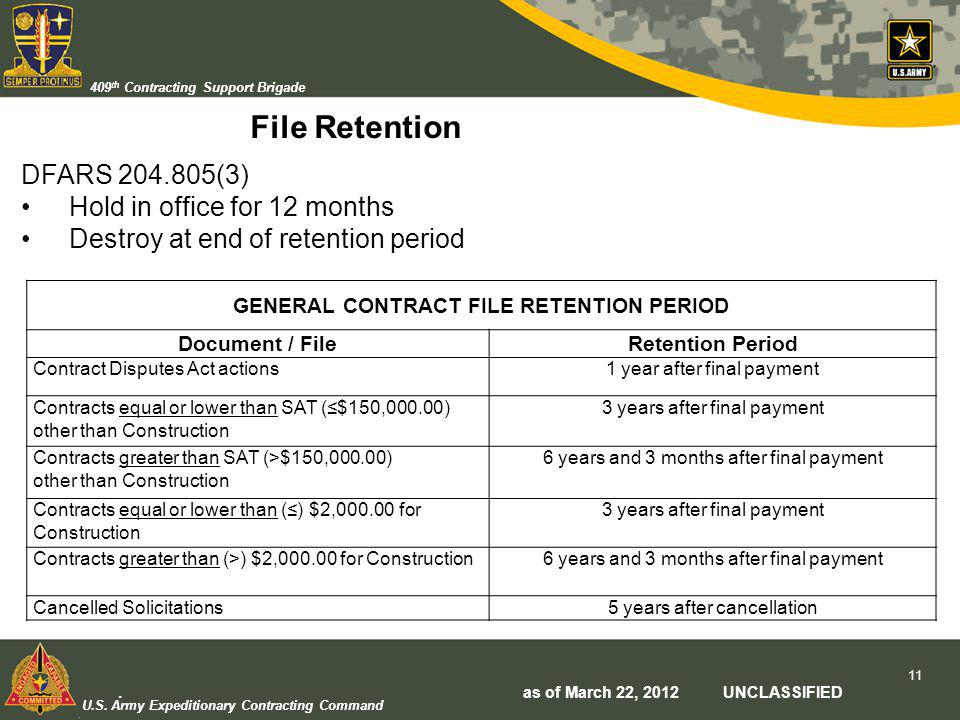 U.S. Army Expeditionary Contracting Command 409 th Contracting Support Brigade File Retention GENERAL CONTRACT FILE RETENTION PERIOD Document / FileRe