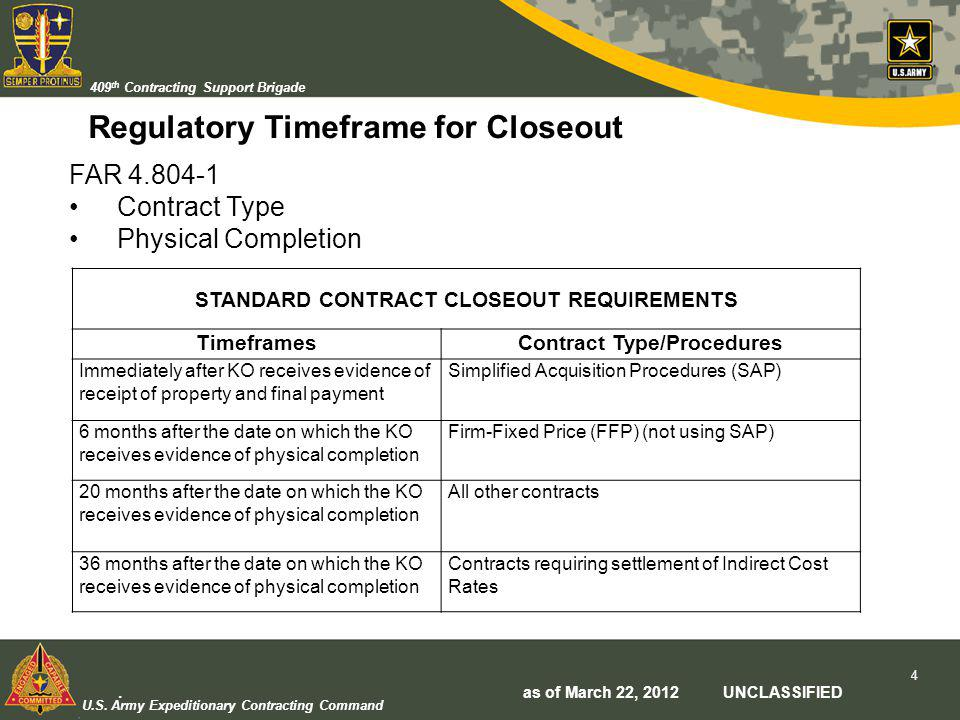 U.S. Army Expeditionary Contracting Command 409 th Contracting Support Brigade Regulatory Timeframe for Closeout STANDARD CONTRACT CLOSEOUT REQUIREMEN