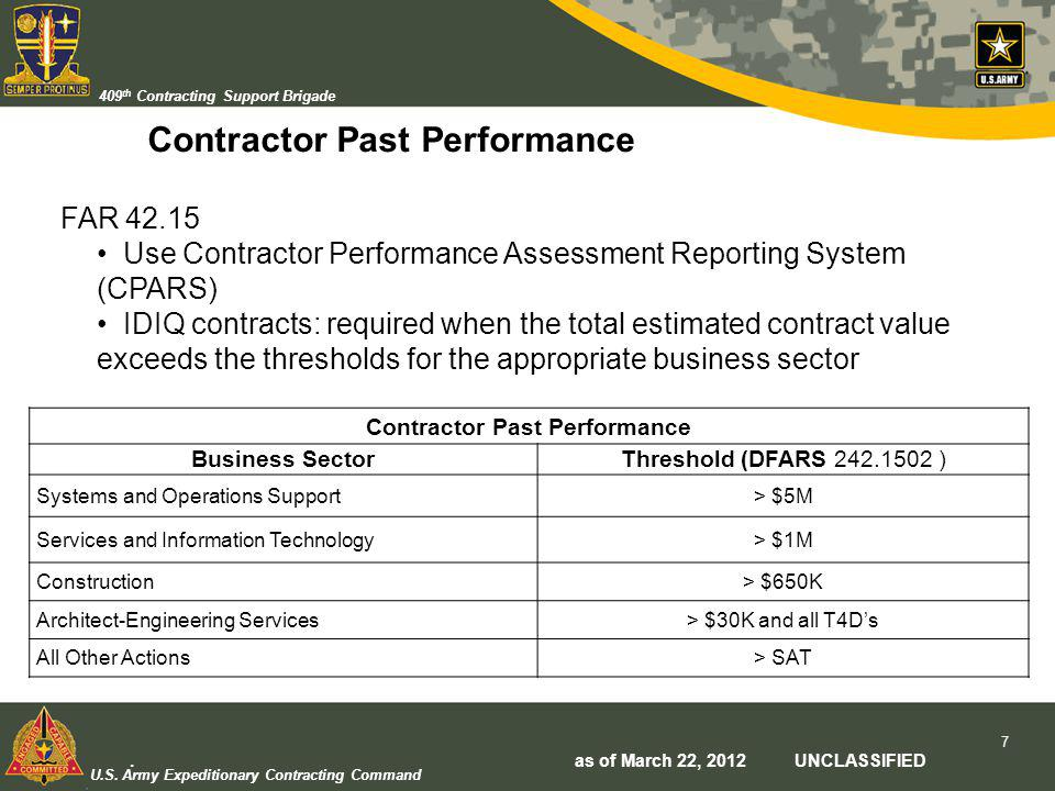 U.S. Army Expeditionary Contracting Command 409 th Contracting Support Brigade Contractor Past Performance Business SectorThreshold (DFARS 242.1502 )