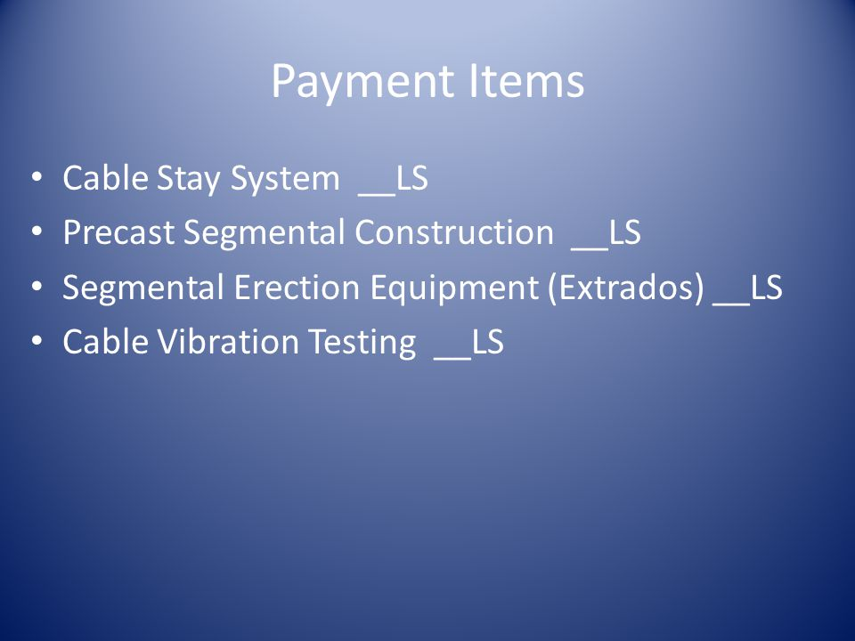 Payment Items Cable Stay System __LS Precast Segmental Construction __LS Segmental Erection Equipment (Extrados) __LS Cable Vibration Testing __LS