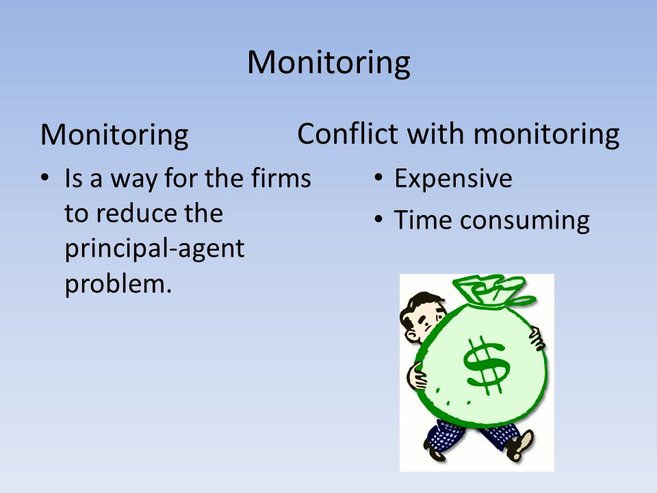 Monitoring Is a way for the firms to reduce the principal-agent problem. Conflict with monitoring Expensive Time consuming