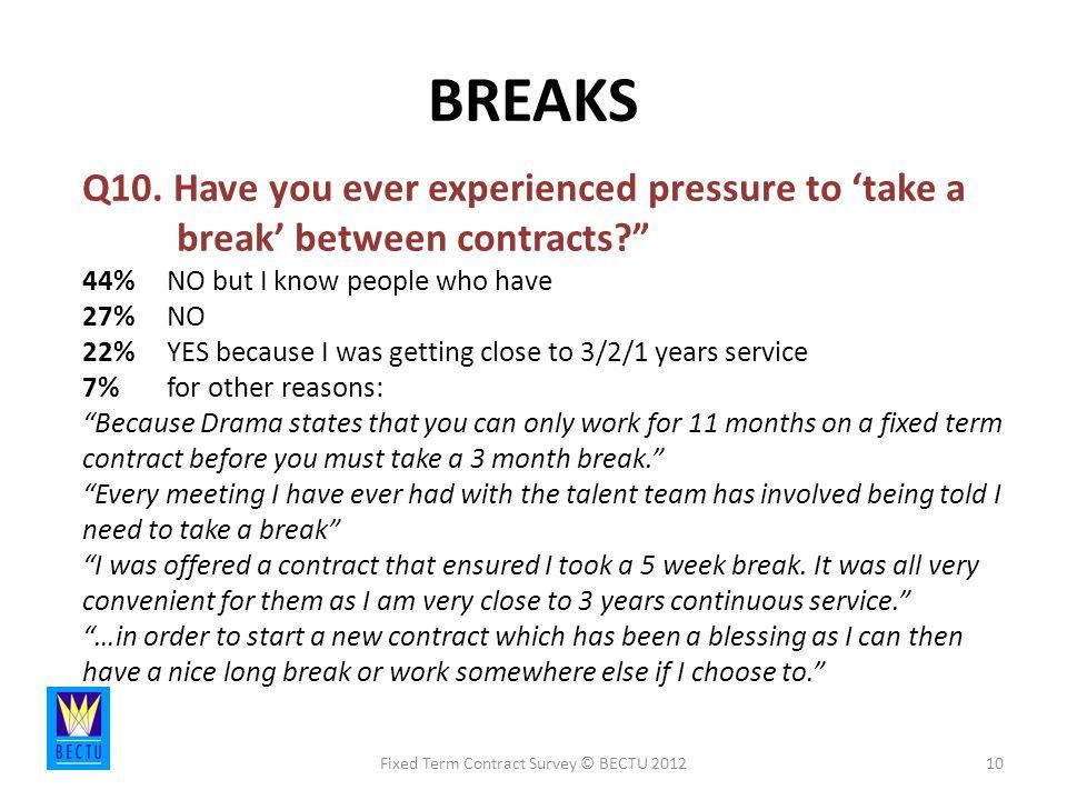 BREAKS Fixed Term Contract Survey © BECTU 201210 Q10.