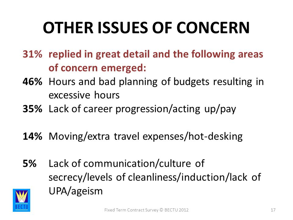 OTHER ISSUES OF CONCERN Fixed Term Contract Survey © BECTU % replied in great detail and the following areas of concern emerged: 46% Hours and bad planning of budgets resulting in excessive hours 35% Lack of career progression/acting up/pay 14% Moving/extra travel expenses/hot-desking 5% Lack of communication/culture of secrecy/levels of cleanliness/induction/lack of UPA/ageism