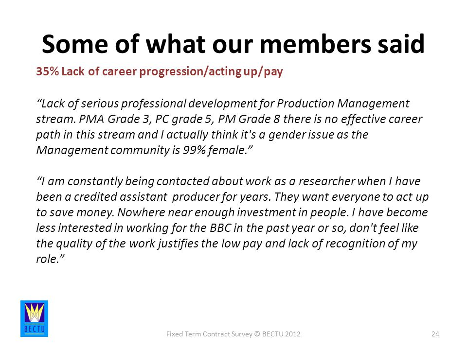 Some of what our members said Fixed Term Contract Survey © BECTU % Lack of career progression/acting up/pay Lack of serious professional development for Production Management stream.