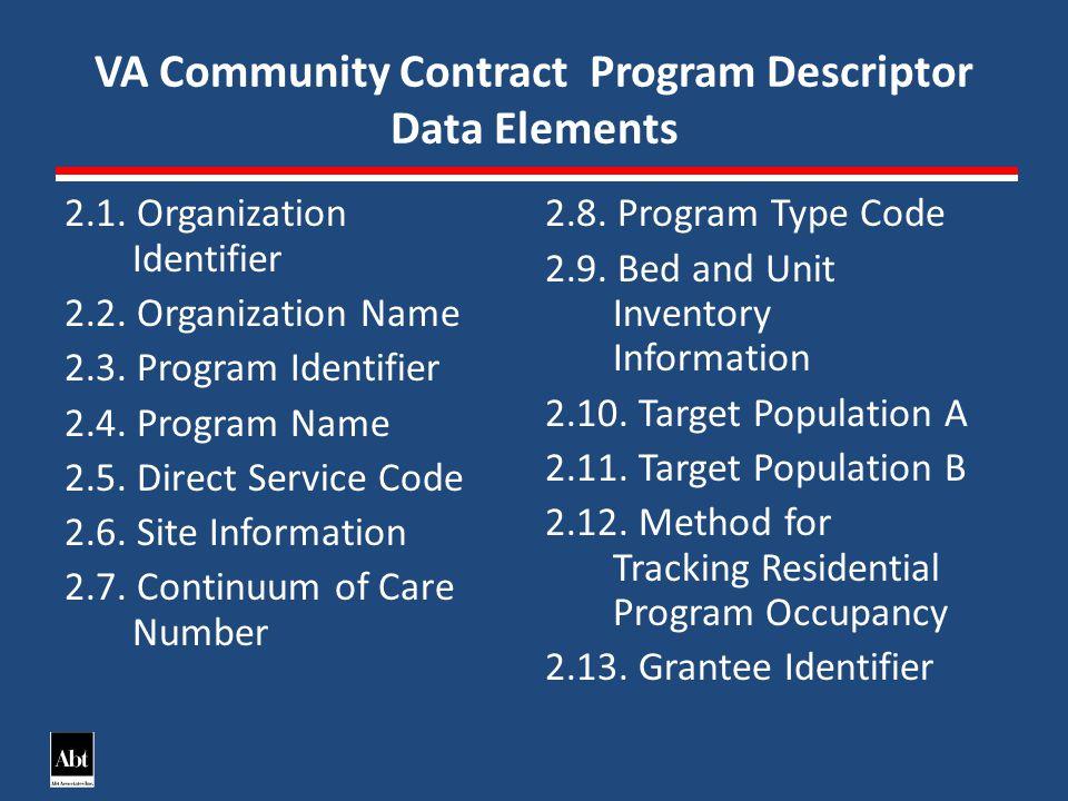 VA Community Contract Program Descriptor Data Elements 2.1.