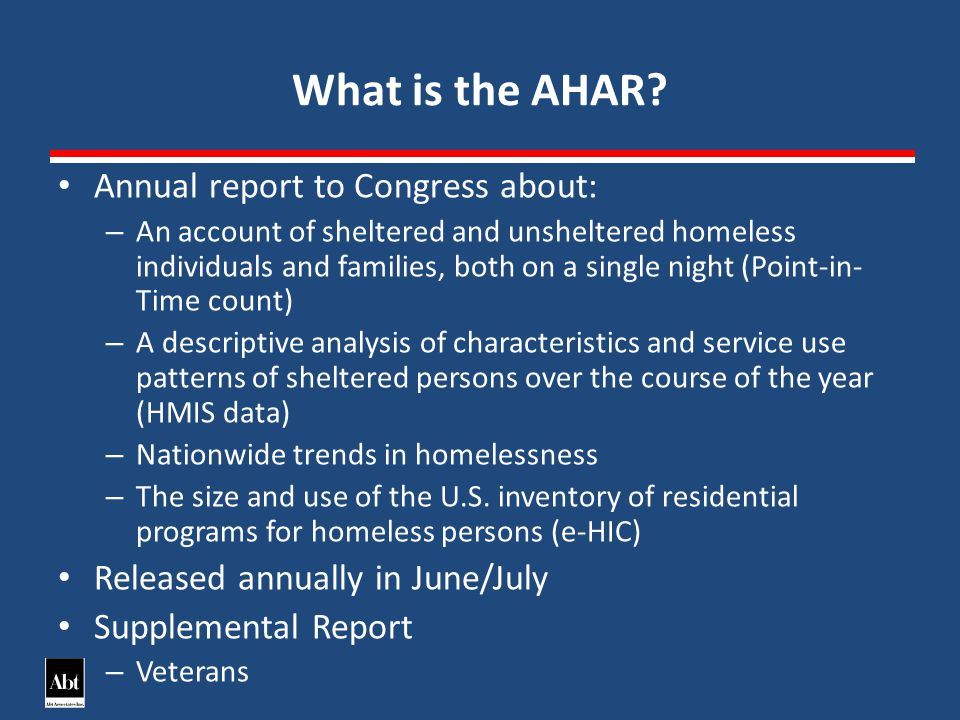 What is the AHAR.