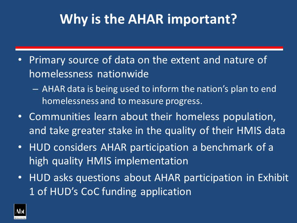 Why is the AHAR important.
