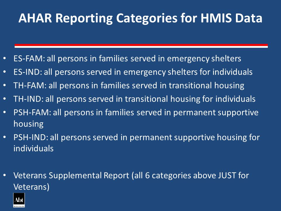 AHAR Reporting Categories for HMIS Data ES-FAM: all persons in families served in emergency shelters ES-IND: all persons served in emergency shelters for individuals TH-FAM: all persons in families served in transitional housing TH-IND: all persons served in transitional housing for individuals PSH-FAM: all persons in families served in permanent supportive housing PSH-IND: all persons served in permanent supportive housing for individuals Veterans Supplemental Report (all 6 categories above JUST for Veterans)