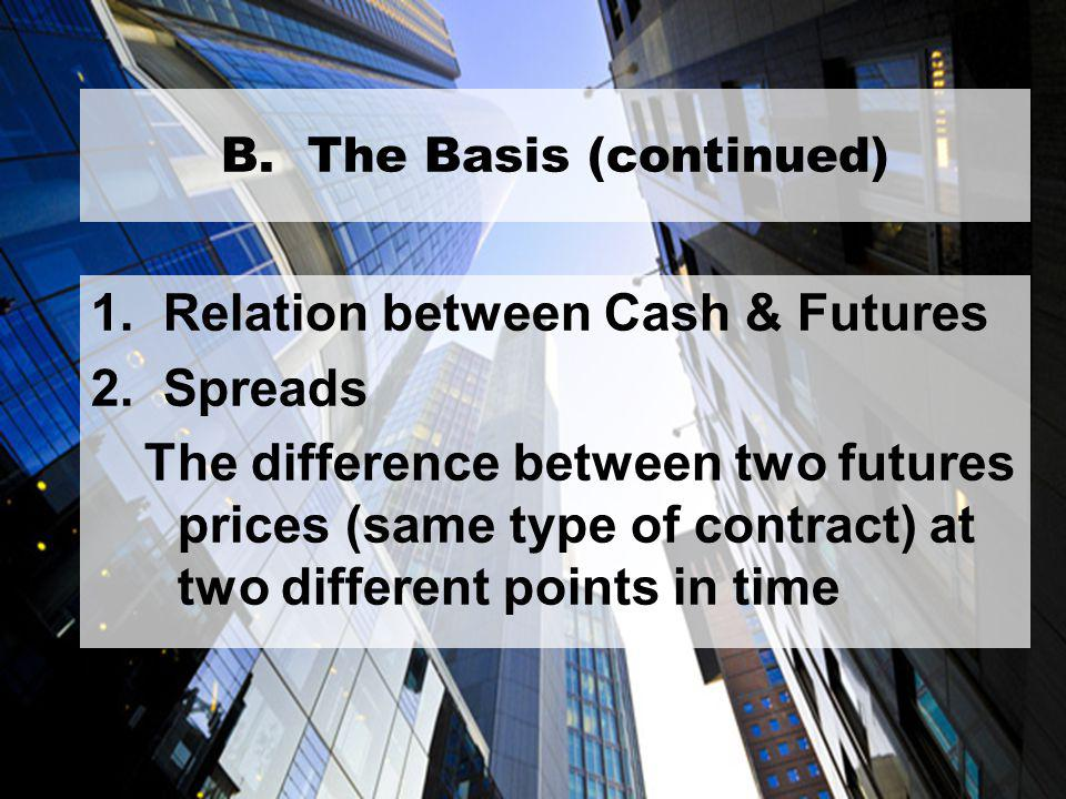 17 B. The Basis (continued) 1. Relation between Cash & Futures 2.