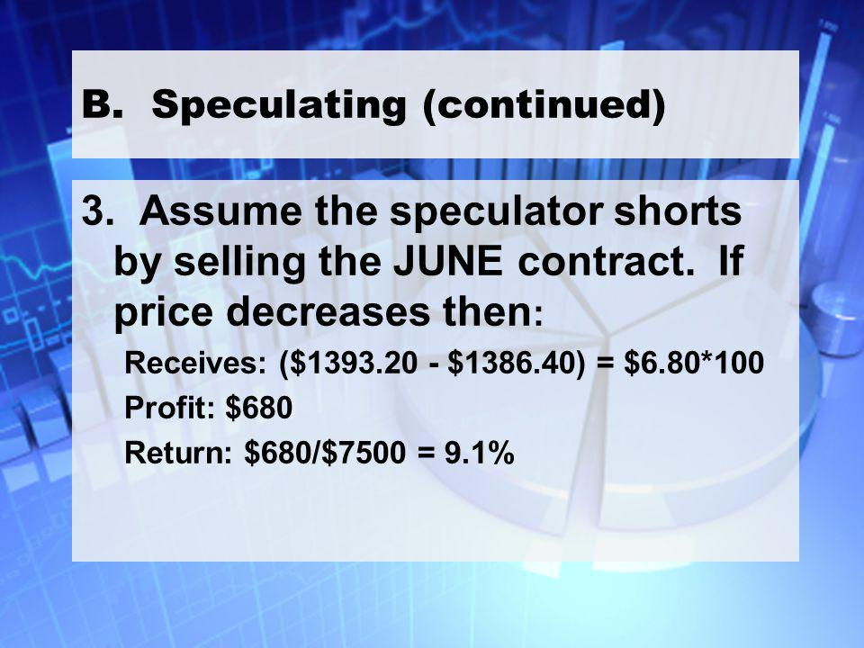 24 B. Speculating (continued) 3. Assume the speculator shorts by selling the JUNE contract.