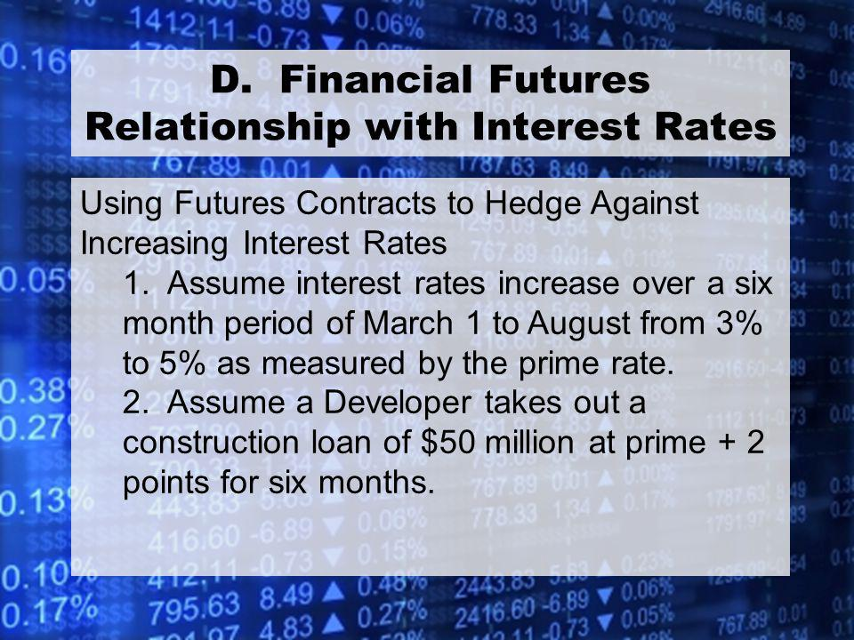 42 D. Financial Futures Relationship with Interest Rates Using Futures Contracts to Hedge Against Increasing Interest Rates 1. Assume interest rates i
