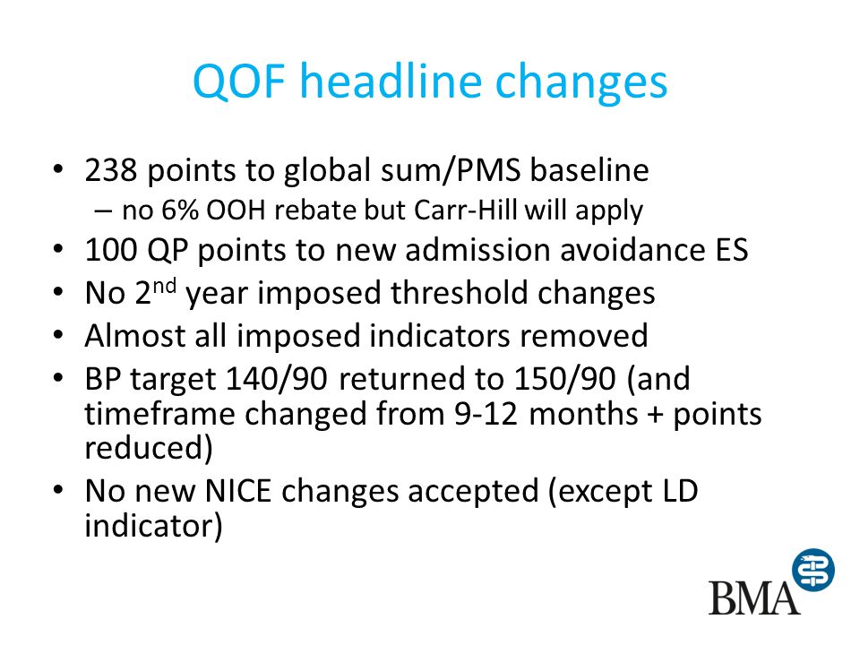 QOF headline changes 238 points to global sum/PMS baseline – no 6% OOH rebate but Carr-Hill will apply 100 QP points to new admission avoidance ES No 2 nd year imposed threshold changes Almost all imposed indicators removed BP target 140/90 returned to 150/90 (and timeframe changed from 9-12 months + points reduced) No new NICE changes accepted (except LD indicator)